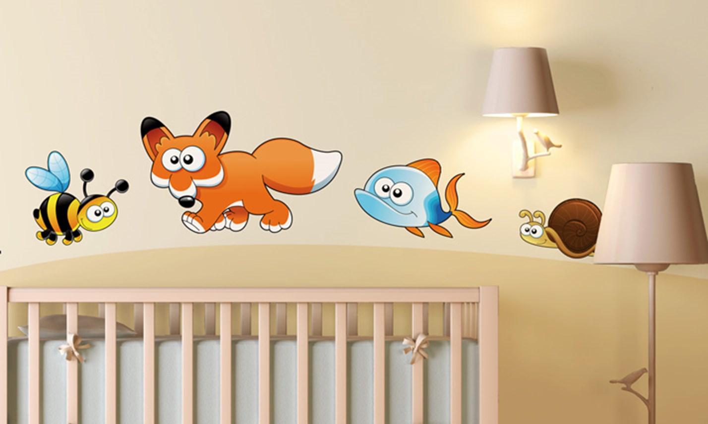 Stickers murali bambini cameretta animali divertenti - Decorazioni murali camerette bambini ...